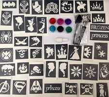 GLITTER TATTOO KIT 52 stencils Princess Pirate Superhero Frozen MADE in the UK