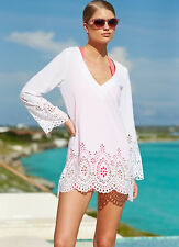 Kenneth Cole White V Neck Laser Cut Swimsuit Cover Up Dress XL NWT NEW $58