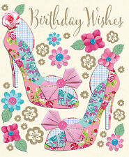 Birthday Wishes Female Open Lovely Shoes & Flower Design Fabrique Happy Card