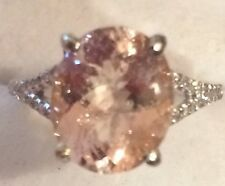 4.11CT HUGE  NATURAL MORGANITE AND  NATURAL DIAMONDS RING IN 14K WHITE GOLD