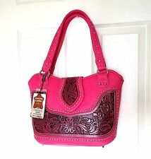 Montana West Concealed Carry Handbag Pink Western Cowgirl Purse Fashionable Bag