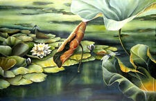ASHLEY COLL - A QUIET PLACE - GICLEE CANVAS -LOTUS POND