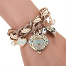 Women Rhinestone Dial Stainless Steel Heart Chain Bracelet Wrist Watch Xmas Gift