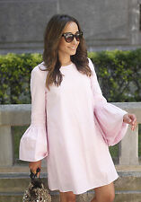 ZARA NEW LIGHT PINK STRIPED FRILL SLEEVES POPLIN JUMPSUIT DRESS SIZE XS