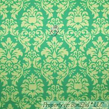BonEful Fabric Cotton Quilt Green Lime Tonal Flower Damask John Deere Sale SCRAP