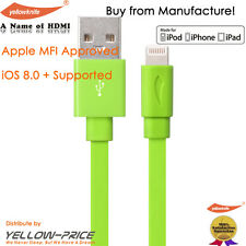 YellowKnife MFi Certified - IOS 7+ Noodle Flat 8pin Lightning Colorful USB Cable