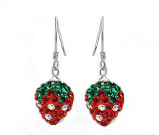 Cute Strawberry Crystal Rhinestone Silvering Disco Ball Earrings New Chain  ABCD