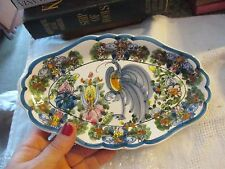 """Greek ceramic tray oval in shape 9"""" x 5"""" hand painted - SCT"""
