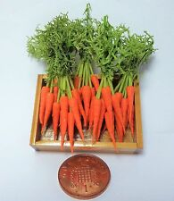 1:12th Wooden Tray Of 5 Bunched Fresh Carrots Dollhouse Miniatures