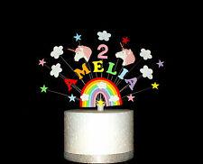 Arc-en-ciel Unicorn birthday cake topper, personnalisée nom et âge