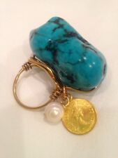 Brass Wrapped Wire Massive Faux Turquoise Ring W/ Faux British Gold Coin & Pearl