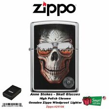 Zippo Anne Stokes Skull Sunglasses, High Polish Chrome, Windproof Lighter #29108