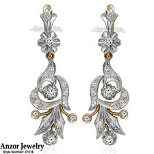 Russian Style Earrings 1.75CT Diamond G-SI1 14k Rose W Gold Руская Красавица