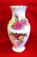 "Royal Albert Old Country Roses Signed 8"" Bouquet Vase with 3D Roses & Butterfly"