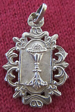 Antique Catholic Religious Medal - STERLING - EUCHARIST / COMMUNION / STUNNING