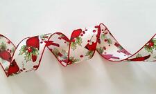5yd Red Cardinal Bird Holly Berries Christmas Wired ribbon Wreath bow Home decor