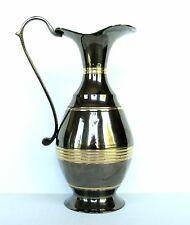 Vintage Art Noveau Brass Pitcher Jug India Tall Ewer Two Tone Smoked Vase Decor