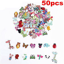 Lots 50Pc Mixed Bulk Animal Wooden Sewing Buttons Scrapbooking DIY Craft 2 Holes