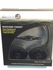 NEW METALLIC  BLACK ABLE PLANET MUSICIANS CHOICE STEREO HEADPHONE- SH180BMM