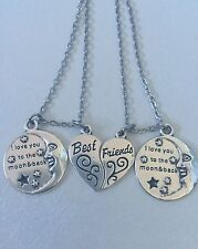 I love you to the moon and back best friend necklace set