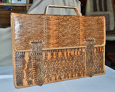 Vintage 40's 1940 50's 1950 snakeskin attache briefcase document case man bag