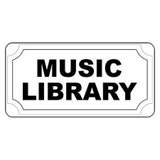 Music Library Black Retro Vintage Style Metal Sign - 8 In X 12 In With Holes