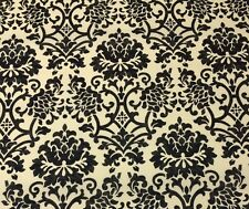 "BALLARD SINCLAIR DAMASK BLACK CREAM OUTDOOR FURNITURE FABRIC BY THE YARD 54""W"