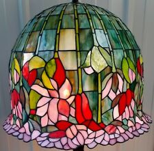 """LARGE 18"""" TIFFANY STYLE STAINED GLASS LOTUS WATER LILY FLORAL LAMP SHADE"""
