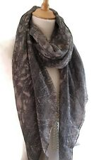 Classy Grey and Taupe Animal Print Scarf Pashmina Shawl Wrap Scarve New