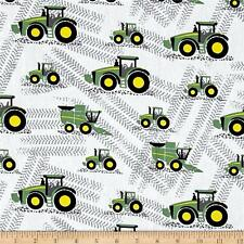 TRACTOR Fabric Fat Quarter Cotton Craft Quilting - BOYS - John Deere - White