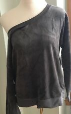 $98 NWT Juicy Couture Velour OFF-SHOULDER Crew Top Pullover GRAY Sz XL