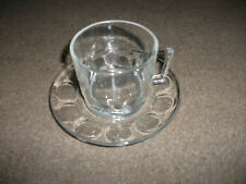 CUP & SAUCER BY ARCOROC FRANCE-CLEAR GLASS-USED-GOOD CONDITION