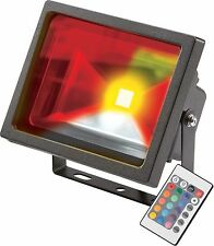 Knightsbidge IP65 20W Black RGB Light LED Floodlight c/w Remote Control & Memory