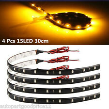 4xYellow/Amber 15LED 30cm Car Auto Flexible Waterproof Strip Light SMD 12V Sales