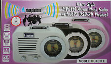 STEEPLETONE ROXETTE RETRO STYLE MW-FM MP3 USB-SD ALARM CLOCK RADIO- WHITE