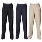 New HENBURY Mens Teflon Coated Pleated Chino Trouser in 3 colours 30- 44 S/R/L/U