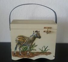 RETRO Vintage WOOD BOX PURSE HAND BAG Zebra Elephant Leopard 3D Raised Decoupage