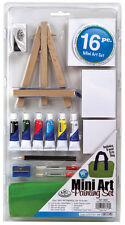 Acrylic Painting Artist Easel Set 3 x Blank Canvas, Brushes & Paint Tubes MS101