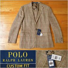 BNWT $895 Polo Ralph Lauren Slim-Fit Tan Check Wool & Silk Blend Jacket, 40R 42R