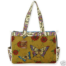 Kate McRostie Brown Med Canvas Tote Resort Vacation Handbag Blue Butterfly New