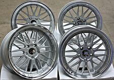 "18"" OEMS ES3 LM STYLE ALLOY WHEELS DEEP DISH SILVER POL LIP STAGGERED 18"" ALLOYS"