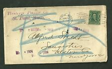 1906 Cover Sent from St. Paul Minnesota To Saugesties New York Western Puzzle Co