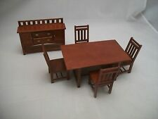 Dining Room Set Craftsman Style dollhouse wooden furniture 1/12 scale 6pc T6239