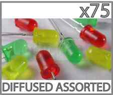 75 Pcs LED Assorted diode Red Yellow Green 5mm Diffused 5 mm Round