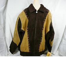 Men Large Vintage Leather Suede Dark Brown Cognac Southwest Bomber Jacket NWT