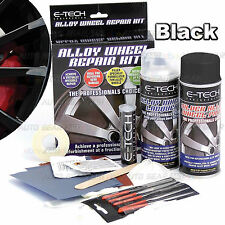 E-TECH Alloy Black Wheel Repair Refurbishment Kit Wheel Spray paint + Lacquer ..