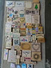 Lot of 63 RUBBER STAMPS Mixed Lot Look at All Photos MED FLAT RATE BOX #17