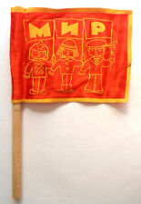 """1979 USSR Russian Soviet Toy Children's Small Flag """" PEACE """""""