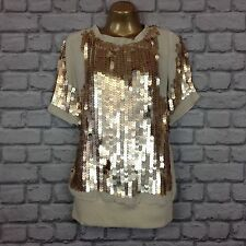 PATRIZIA PEPE UK 12 EU 44 MATTE GOLD SEQUIN DESIGNER TOP RRP £230