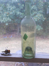 Antique Wine Whiskey Soda Bottle: Circa 1800 Spin Mold Olive Green Glass